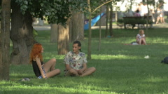 Young people in Central Park, Cluj-Napoca Stock Footage
