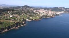 Beautiful coast at Carqueiranne town, Var, Cote d'Azur, South of France, aerial Stock Footage
