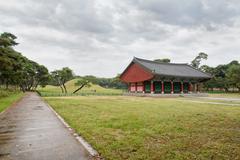 GYEONGJU, KOREA - OCTOBER 20, 2014: Oreung Royal Tombs - stock photo