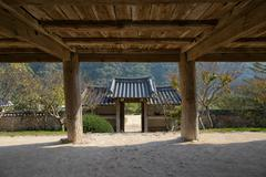 Andong, Korea - October 16, 2014: Entrance of Byeongsanseowon - stock photo
