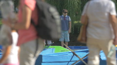 Pedal boats in Central Park, Cluj-Napoca Stock Footage