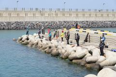 Jeju-do, Korea - April 08, 2015: fishermen on a breakwater Stock Photos