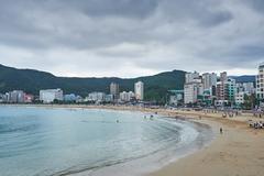 Busan, Korea - September 19, 2015: Songjeong beach Stock Photos