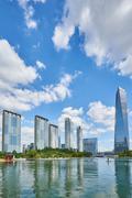 Songdo, Korea - September 07, 2015: Songdo International Business District - stock photo