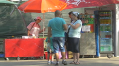 Family relaxing in the Central Park, Cluj-Napoca Stock Footage