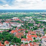 Panorama of the city and the surrounding nature Stock Photos