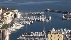 Monte Carlo marina port and city, Monaco, aerial view by drone Stock Footage