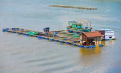 Fish breeding farm, Vietnam Stock Photos