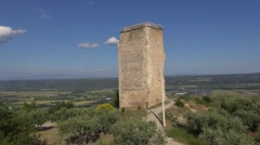 Medieval ruined Tower of Mont d'Or, Manosque, Provence, France by drone Stock Footage