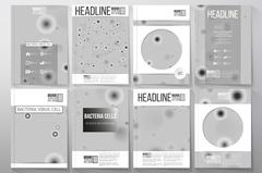 Set of business templates for brochure, flyer or booklet. Molecular research Stock Illustration