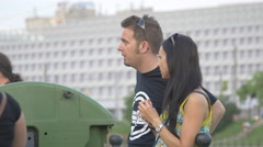 Couple hugging on the riverside in Cluj-Napoca Stock Footage