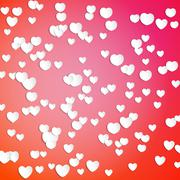 White paper hearts, Valentines day card on red background, vector illustration Stock Illustration