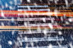pedestrian crossin in the snowfall - stock photo