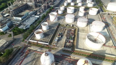 Aerial view of an oil terminal in a refinery Stock Footage