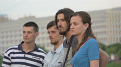 Four people relaxing at River Fest, Cluj-Napoca Stock Footage