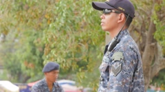 Batitaion commander gives commands,Ubon Ratchathani,Thailand Stock Footage
