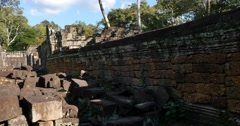 Cambodia Angkor Wat temple ancient ruin buildings Preah Khan Stock Footage