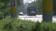 Bus and cars on Splaiul Independenţei Street in Cluj-Napoca Stock Footage