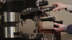 Coffee Machine Pouring Espresso in Cup Extremely Close-up Stock Footage