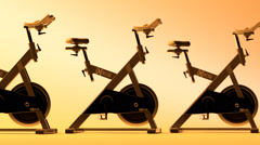 Fitness Bicycle In Gym - stock footage