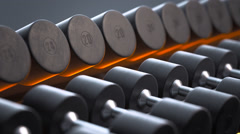Dumbbells On A Rack - stock footage