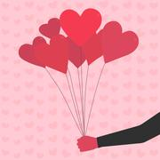 Balloons in shape of heart. Hand drawn. Valentine's Day - stock illustration