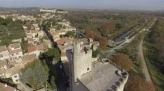 Tour Philippe-Le-Bel tower, Villeneuve-Lez-Avignon, Avignon, aerial view by - stock footage