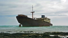 Mysterious abandoned ship in Lanzarote, Spain Stock Footage