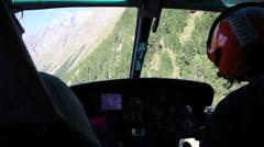 Helicopter journey inside cockpit Stock Footage