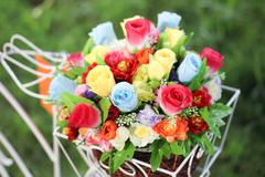 Bright and beautiful colors of plastic flowers. Stock Photos