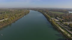 Aerial view of the River Rhone at Villeneuve-Lez-Avignon, in autumn by drone Stock Footage