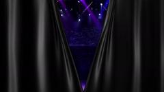 Dark Curtain Opening at concert spotlight Stock Footage