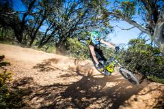 Mountain Bike Riders at Mt Buller - stock photo