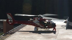 Helicopter take off and landing Stock Footage