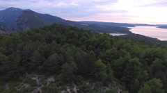 Sunset over the Lac de Sainte-Croix lake, Verdon George, Var, France – aerial Stock Footage