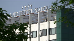Grand Hotel Napoca seen from Central Park, Cluj-Napoca Stock Footage