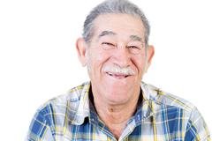 Happy Mexican man with mustache and flannel shirt Stock Photos