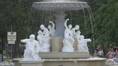 Beautiful fountain with statues in Central Park, Cluj-Napoca Stock Footage