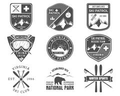 Set of Ski Club, Patrol Labels. Vintage Mountain winter sports explorer badges Stock Illustration