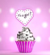 Newborn Baby Girl card message on a delicious cupcake Stock Illustration