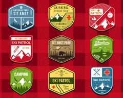 Set of Ski Club, Patrol Labels. Retro Mountain winter camping explorer badges - stock illustration