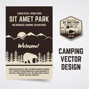 Camping vector brochure and label. The concept of flyer for your business, web - stock illustration