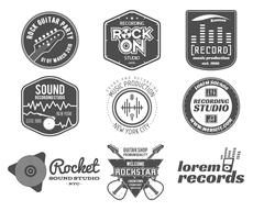 Set of vector music production logo,label, sticker, emblem, print or logotype Stock Illustration