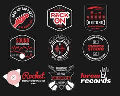 Set of vector music production logo,label, sticker, emblem, print or logotype - stock illustration
