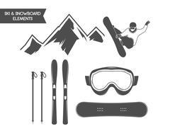 Winter sports elements. Snowboard, ski symbols. Outdoor adventure icon. Travel - stock illustration