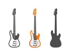 Electric guitars vector icons set. Guitar isolated icons vector illustration - stock illustration