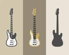 Electric guitar vector icons set. Guitar isolated icons vector illustration - stock illustration