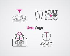 Collection of cute Sex shop logo and badge design templates. Sexy labels set Stock Illustration