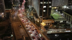 Miami Trafic at night aerial - stock footage