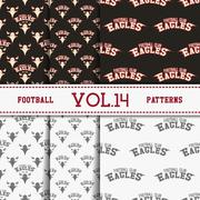Set of american football patterns. Usa sports seamless background collection - stock illustration